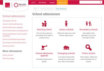 Telford & Wrekin admissions website