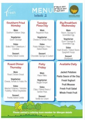 MENU - WEEK 2 from 6th March