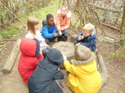 Children spending time together in forest school