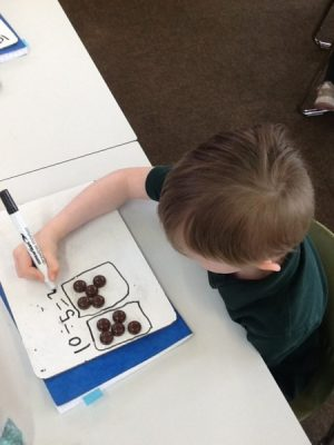 Using counters to share equally